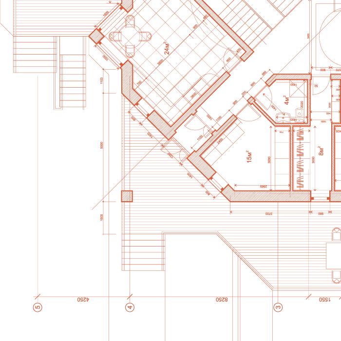Blueprint of building above Glendale Roofing